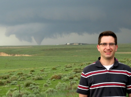 Dave Call in front of a tornado